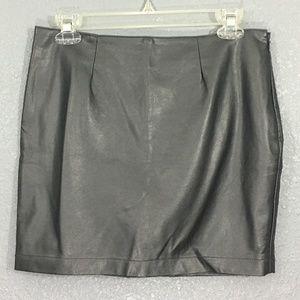 Platinum Faux Leather Mini Skirt